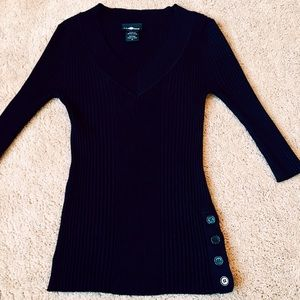 Tops - Black Top with side button detail