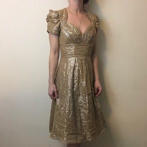 Betsey Johnson Dresses & Skirts - Betsey Johnson Tan Silver Metallic Striped Dress