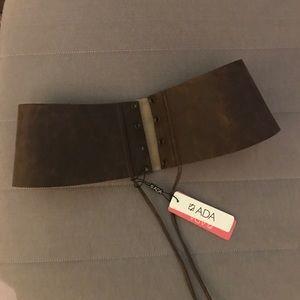 ADA Accessories - Dark Brown Leather Cinched Waist Belt