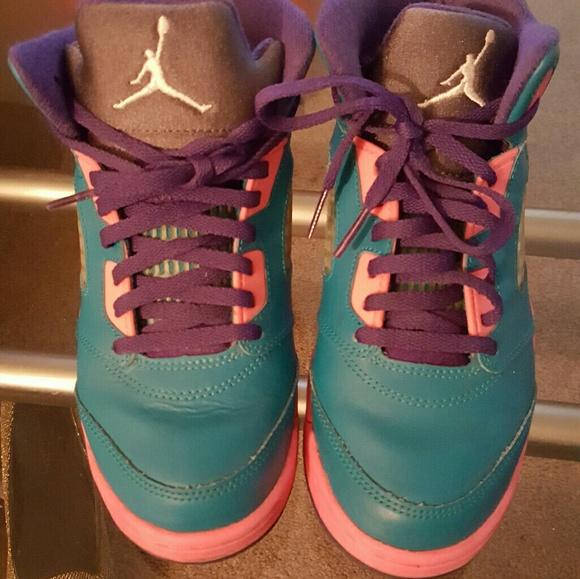 low priced 2d512 06715 Kids jordan 5 retro teal pink and purple