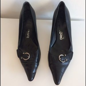 Ferragamo Shoes - Ferragamo Black Leather Kitten Heels