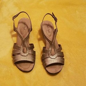 Hush Puppies Shoes - Pewter SoftStyle made by Hush Puppy Colored Sandal