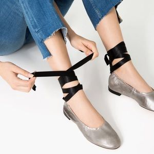 Zara silver flat leather ballet shoes