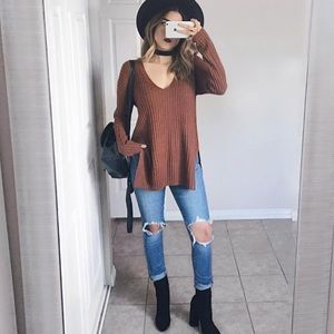 Ribbed Rust Sweater