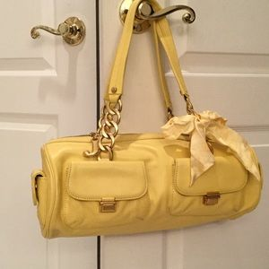 Canary yellow leather bag juicy perfect condition