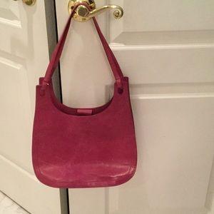 DKNY raspberry leather handbag guc