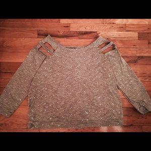 Dots Tops - Cold shoulder sequined shirt