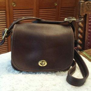Coach  Handbags - Coach Vintage Brown Leather Crossbody Bag