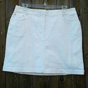 Reba Dresses & Skirts - Reba White Beaded Denim Skirt Skort