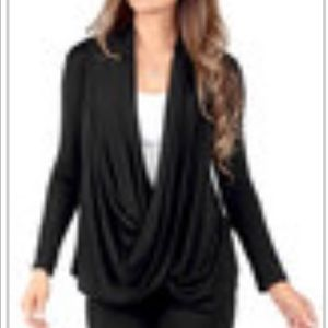 Rags and Couture Tops - Black Crisscross Drape Cardigan