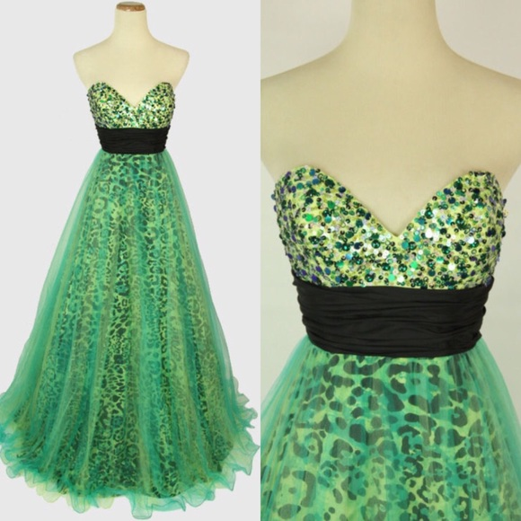 Green Animal Print Prom Dress