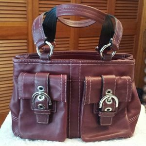 Coach Handbags - Coach Soho Burgundy Double Pocket Satchel