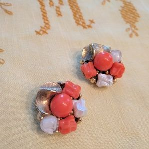 Vintage coral costume jewelry earrings