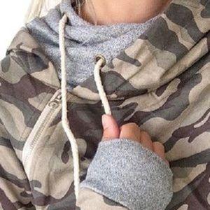 Tops - MindyMae double hooded sweatshirt Camo