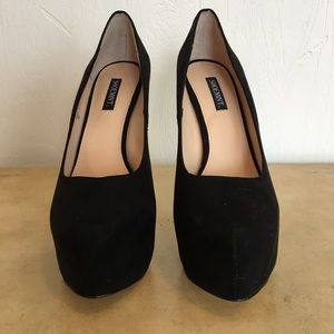 Shoemint Black Suede Platform Heels Size 7.5