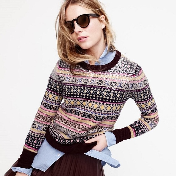 73% off J. Crew Sweaters - J Crew Sequin Fair Isle Sweater from ...