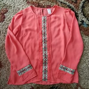 Anthropologie coral embroidered top