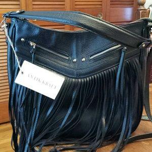 Antik Kraft  Handbags - Antik Kraft NWT Black Boho Fringe Crossbody/Tote B