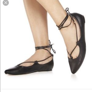 JustFab Shoes - Just Fab Carly Lace up Black Ballet Flats