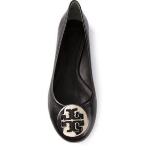 Tory Burch Reva Black Leather Ballet Flats