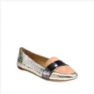 Reed Krakoff Shoes - REED KRAKOFF DRIVER Metallic Snakeskin Loafers 7.5