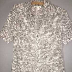 BANANA REPUBLIC Gray & White Short Sleeve Sz M
