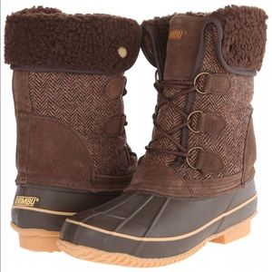 Khombu Shoes - Khombu Brown Herringbone Duck Snow Boots Sz 6 NEW