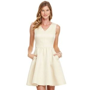 Vineyard Vines Dresses & Skirts - Vineyard Vines Gold Jaquard Fit and Flare Dress