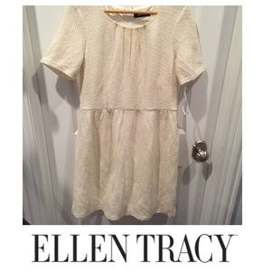 Ellen Tracy Dresses & Skirts - Ellen Tracy Cream & Metallic Gold Tweed Dress