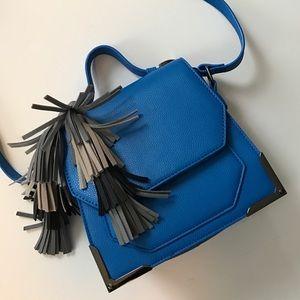 Lionel Handbags - Small Blue Crossbody with tassels