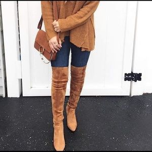 goodnight macaroon Shoes - Marlo Tan Suede Over The Knee Boots