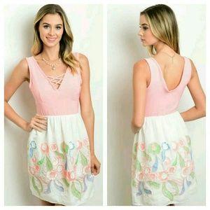 Dresses & Skirts - NWOT Salmon Pink and Ivory Tea Dress V Neck Floral