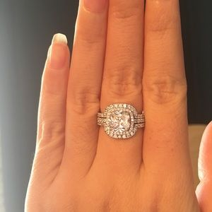 Jewelry - 3pcs real 925 silver engagement wedding ring set