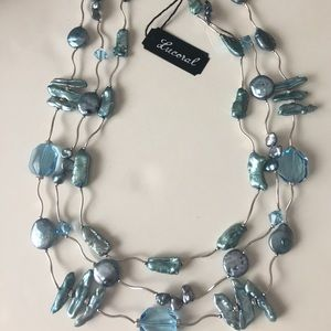 NWT Lucoral light blue cultured pearl necklace SS