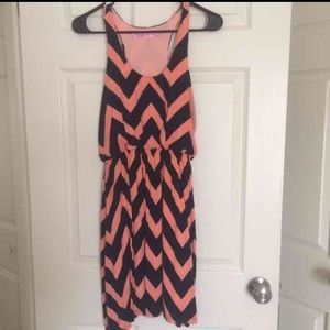 Dresses & Skirts - Peach and navy chevron summer dress