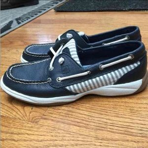 Navy Leather Sperry Top Sider Boat Shoes Sz 7.5