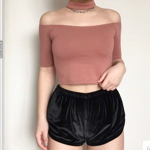 Forever 21 Tops - rust off the shoulder choker crop top