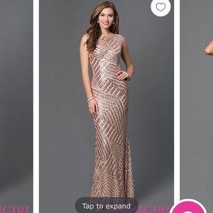 Jovani Champagne Sequin Prom Dress