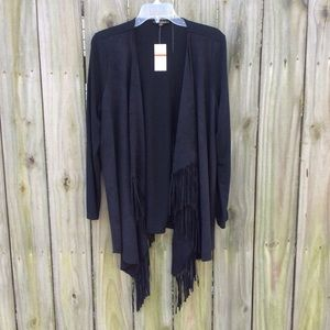 Black Fringe Steven Edwards L Cape Cardigan NWT