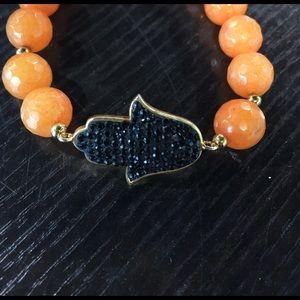 Natural stone elastic Hamza bracelet by FRONAY