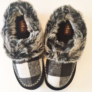 Kooba Shoes - Kooba faux fur buffalo check fleece slippers
