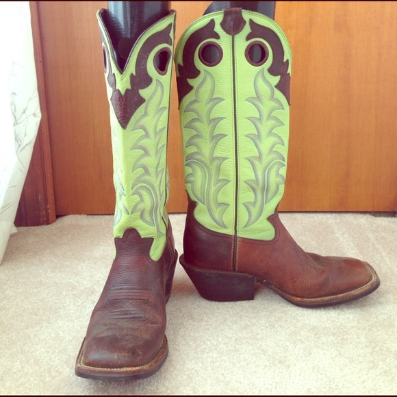505469feb08 Tony Lama Lime Green Men's Square Toe Cowboy Boots