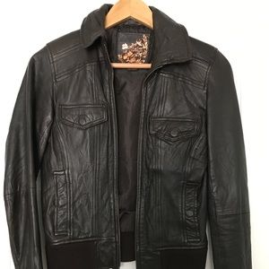 Zara chocolate brown 100% leather bomber jacket