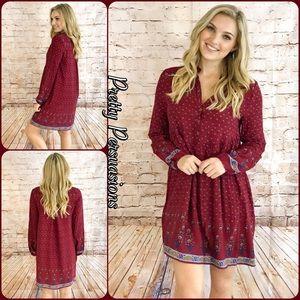 Pretty Persuasions Dresses & Skirts - SALE 🎉Wine Long Sleeve Border Print Peasant Dress