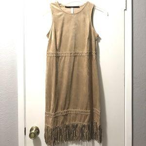 Kensie tan faux suede dress with fringe