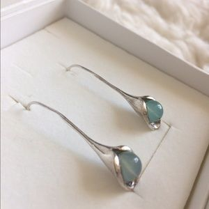 Magnolia Jewelry - Magnolia Sterling Aquamarine Drop Pendant Earrings