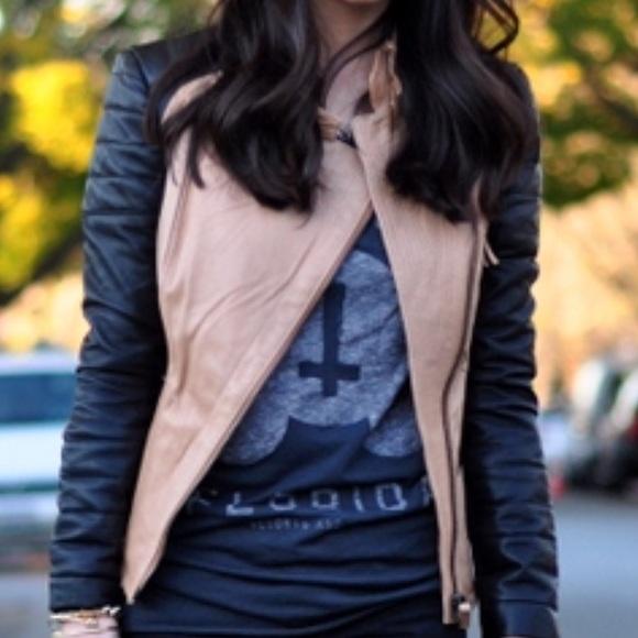 Zara Jackets & Blazers - Zara contrast two tone leather jacket