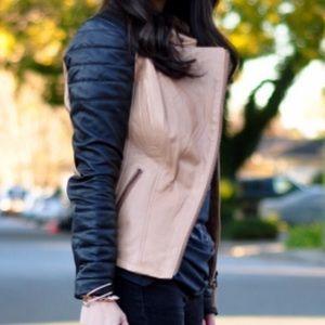 Zara Jackets & Coats - Zara contrast two tone leather jacket