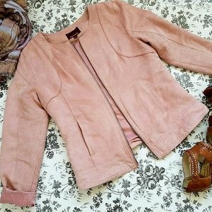 Hive & Honey Faux Suede Jacket Dusty Pink size L