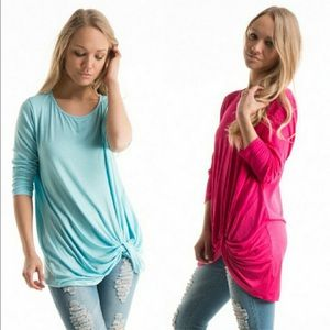 Ⓢⓤⓑⓜⓘⓣ ⓞⓕⓕⓔⓡ 3/4 Side Knot Tunic•Color Options